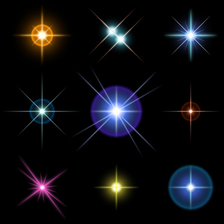 Set of sparkling multicolored stars on black Иллюстрация