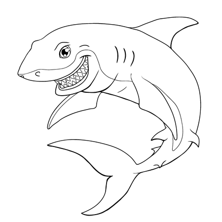 The friendly cheerful smiling shark a black manual contour on a white background. Marine predatory animal fish. Vector illustration. Book coloring.