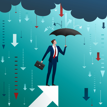 Businessman with an umbrella on arrow