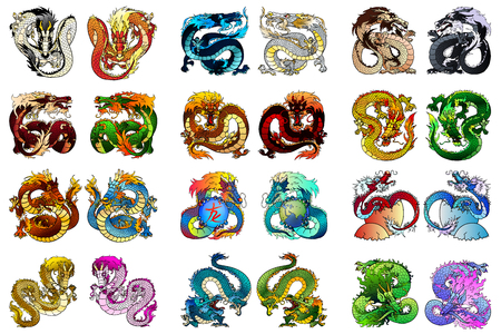 Big set 24 coloring asian dragon Фото со стока