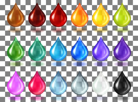 Multycolor transparent drops on transparent