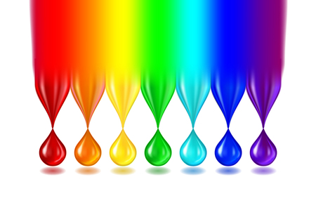 Rainbow color drops on white