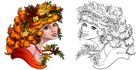 Autumn girl colored and outlined