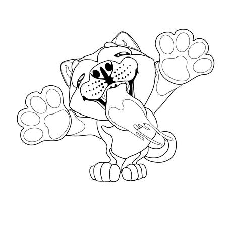 Cute slime puppy dog contour line Иллюстрация