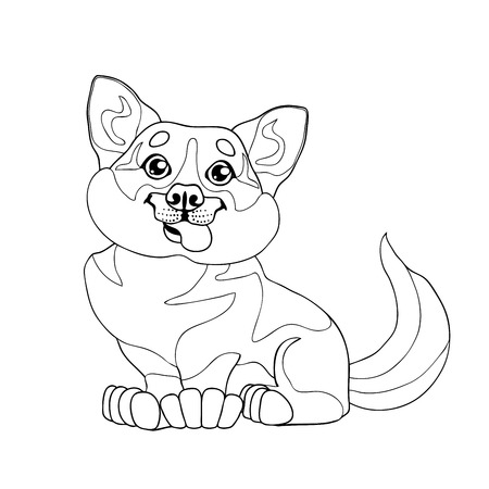 Lovely puppy dog  in a contour line Иллюстрация