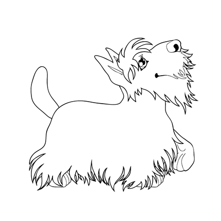 Standing puppy of a dog artline