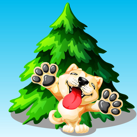 The lovely puppy Akita Inu on hinder legs and green fir tree on blue. A yellow dog a symbol 2018 new years according to the Chinese calendar. A colorfull vector illustration. Иллюстрация