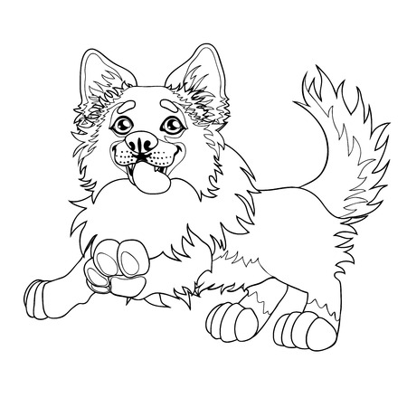 Lovely puppy dog sits contour line, vector illustration.