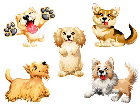 Set five puppy of a dog on white Иллюстрация