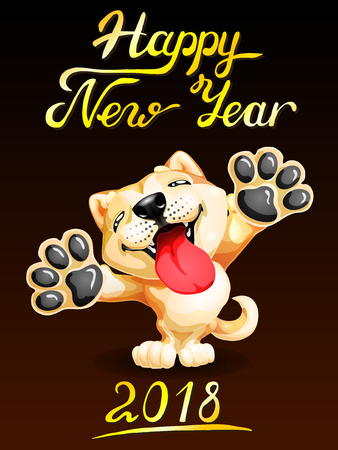 Card the lovely puppy yellow Akita Inu standing on hinder legs and letters Happy New Year 2018. Colorfull dog, vector cartoon illustration on black background.