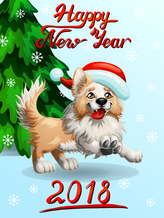 The cheerful yellow puppy of a Border Collie wish red cap and letteing Happy New Year 2018 and fir-tree. A cartoon vector illustration on blue and snowflakes. Иллюстрация