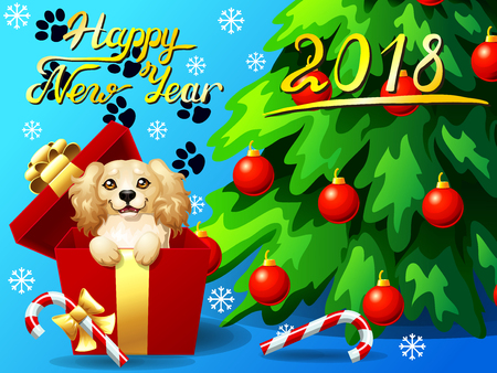 Card Cocker Spaniel in a gift box and fir Illustration
