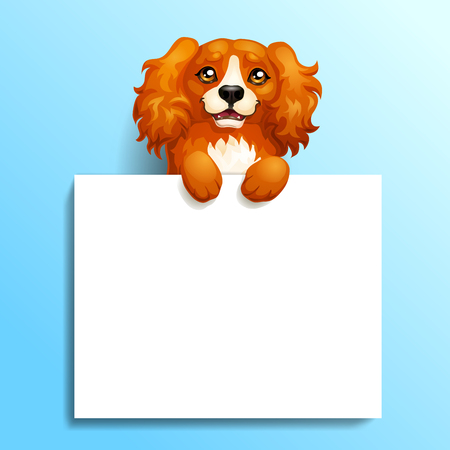 Card red spaniel and banner on blue background. Иллюстрация