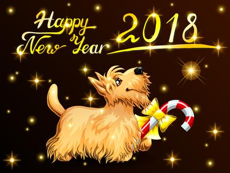 Card Scottish Terrier on black Иллюстрация