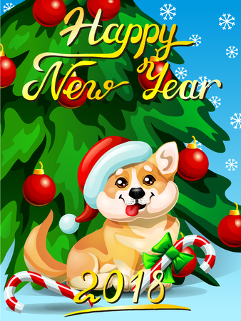 Card welsh corgi ang fir tree horizontal, vector illustration.