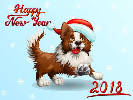 Card border collie on light blue background.