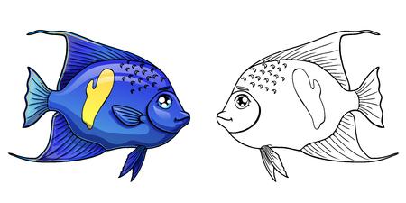 Blaue arabische Engelsfische des netten Seeaquariums bunte und schwarze Konturlinie auf einem weißen Hintergrund. Fisch Meerestier. Lokalisierte Karikaturvektorillustration, Seitenmalbuch. Vektorgrafik