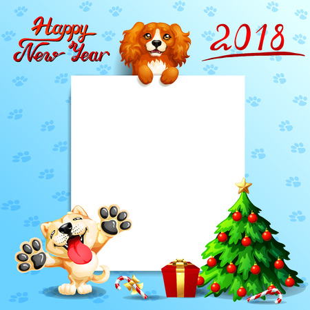The red dog Cocker Spaniel stands with paws on a white banner or a poster and inscription of Happy New year 2018, puppy Akita Inu and fir-tree. A vector illustration in cartoon style on blue. Иллюстрация