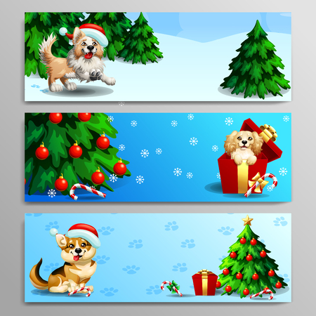 The three banners with cute dogs of Border Collie, Cocker Spaniel and Welsh Corgi with wood landscape, fir-tree, gift and candy cane. A vector illustration in cartoon style