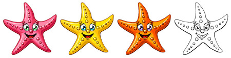 Three cheerful cute starfishes of a pink-red, yellow, orange colors and black contour line on white background. A cartoon vector illustration, page coloring book.