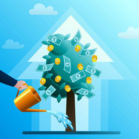 The hand of businessman waters a monetary tree. The person invests in the business. Successful start-up. Concept of business situation. Flat design vector illustration clip art.