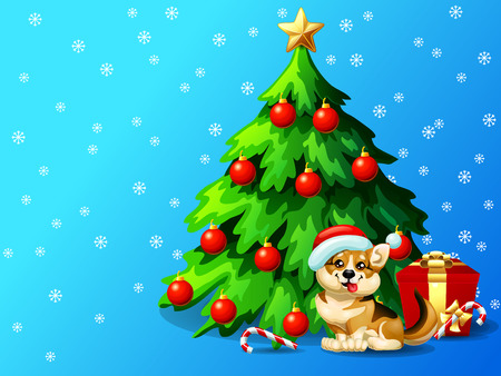 Welsh Corgi and fir tree for Christmas greeting card Иллюстрация