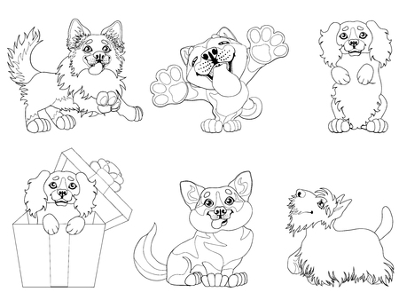 Set puppy dogs contour line vector illustration Фото со стока - 91673852
