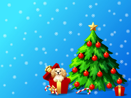 A cute dog of Cocker Sapniel breed in a red box and a fir-tree with jewelry and a Candy cane on blue background with snowflakers A vector illustration in cartoon style. Фото со стока