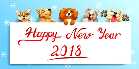 The five cute red and yellow dogs of different breeds and a white banner or a poster and inscription of Happy New year 2018. A vector illustration in cartoon style on blue.