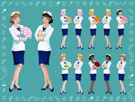 Set joyful nurse with pink, blonde, red, black or brown hair with a big bouquet of roses or tablet with paper on green with medical icon background. A cartoon anime vector illustration.