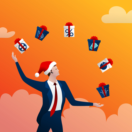 New Years businessman with gifts on orange Фото со стока - 92346387