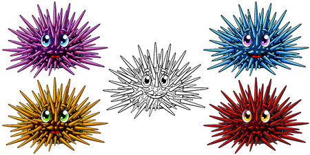 Set of cartoon sea hedgehogs or urchin with the person of blue, red, yellow, pink colors and black contour. A vector illustration of marine animals separately on a white, page coloring book.