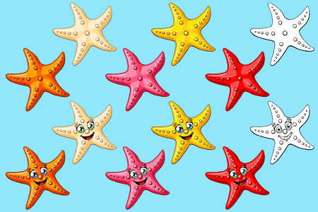 Big set cheerful cute starfishes with person and not of a pink, red, yellow, orange, beige colors and black contour line isolated on blue background. Illustration