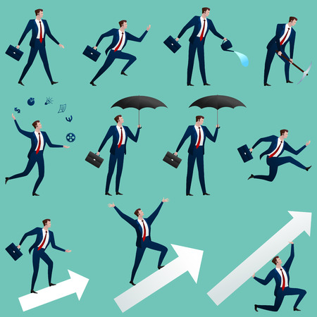 Big set successful business changes in different situations separately on blue. The person runs, goes, holds an umbrella, costs on the shooter, juggles. Vector flat illustration. Фото со стока - 94540544