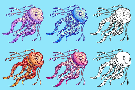 Jellyfish six color and contour on blue