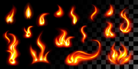 Big set of 16 fires on black-transparent illustration.
