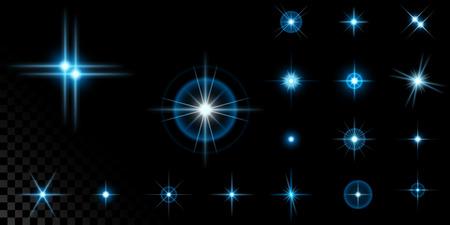 Big set of blue stars on black Фото со стока - 98177293