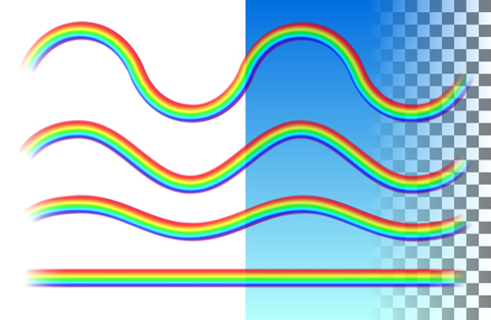 Rainbows translucent wave and straight lines