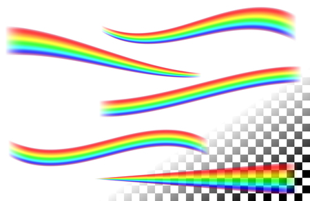 Rainbows curved lines on white tansparent Ilustração