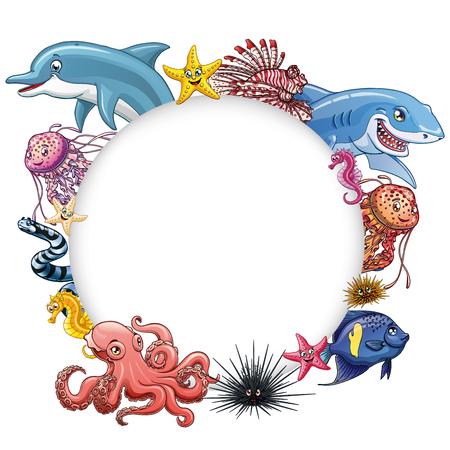 Set cute marine animals colorful on white Фото со стока - 97878507