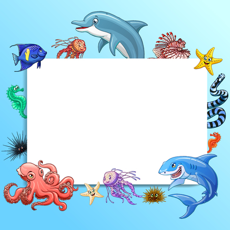 Set cute marine animals colorful on white Фото со стока - 97878506