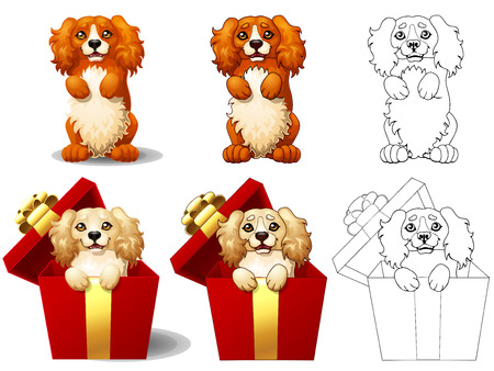 Cocker Spaniel in a gift box Иллюстрация