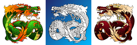 Artful Dragon colorful and line-art Фото со стока - 103676188