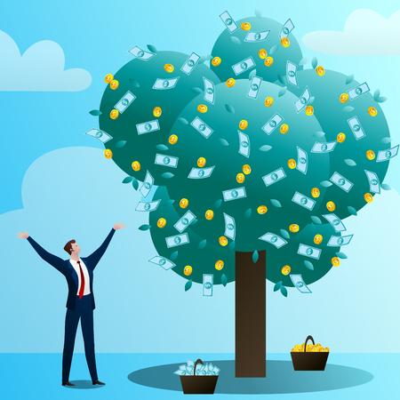 The businessman grows up a big monetary tre Фото со стока - 103676190