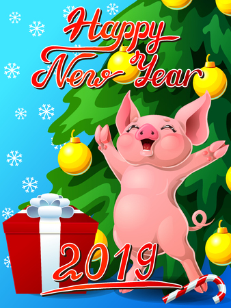 Card joyful pink pig and fir vertical Фото со стока - 103676197