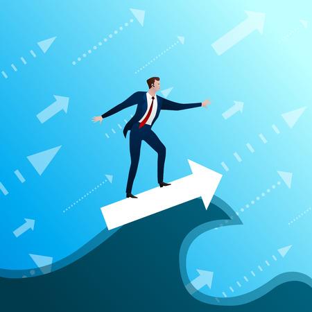 Businessman subordinates success wave