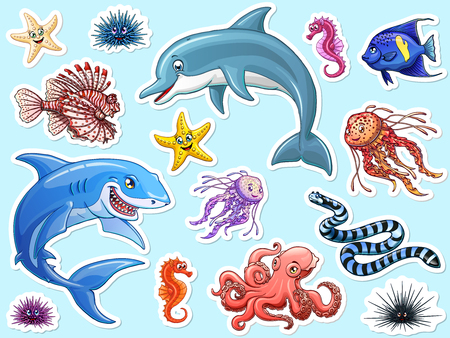 Set cute marine animals colorful on white