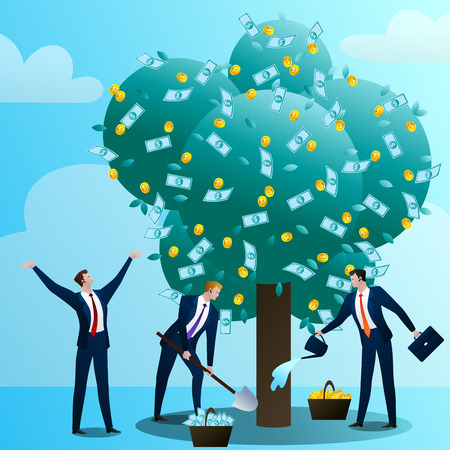 Businessmans look after monetary tree