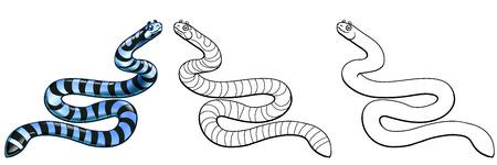 Sea serpent colorful and contour on white Фото со стока - 103676223