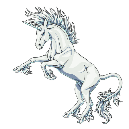 State white unicorn on white Иллюстрация